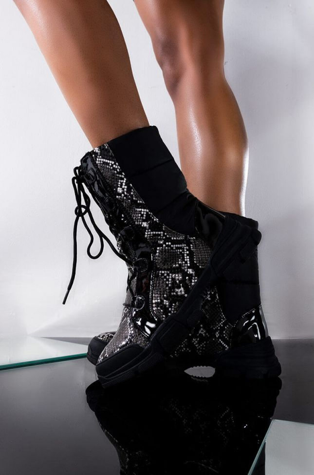 Front View Bring It On Flat Bootie in Black