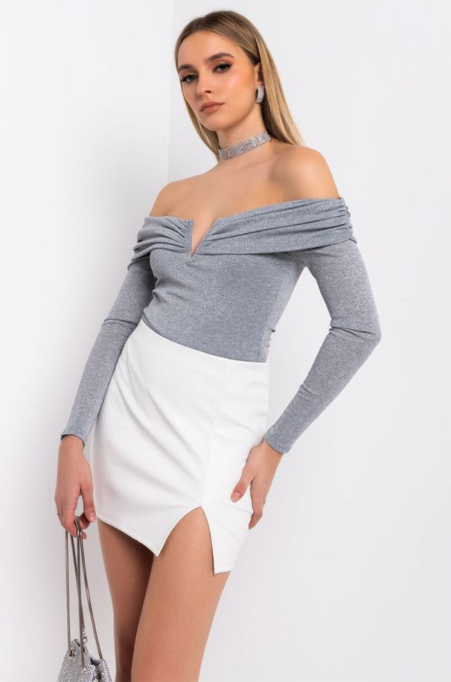 Side View Bring It Out Off Shoulder Long Sleeve Bodysuit in Heather Grey