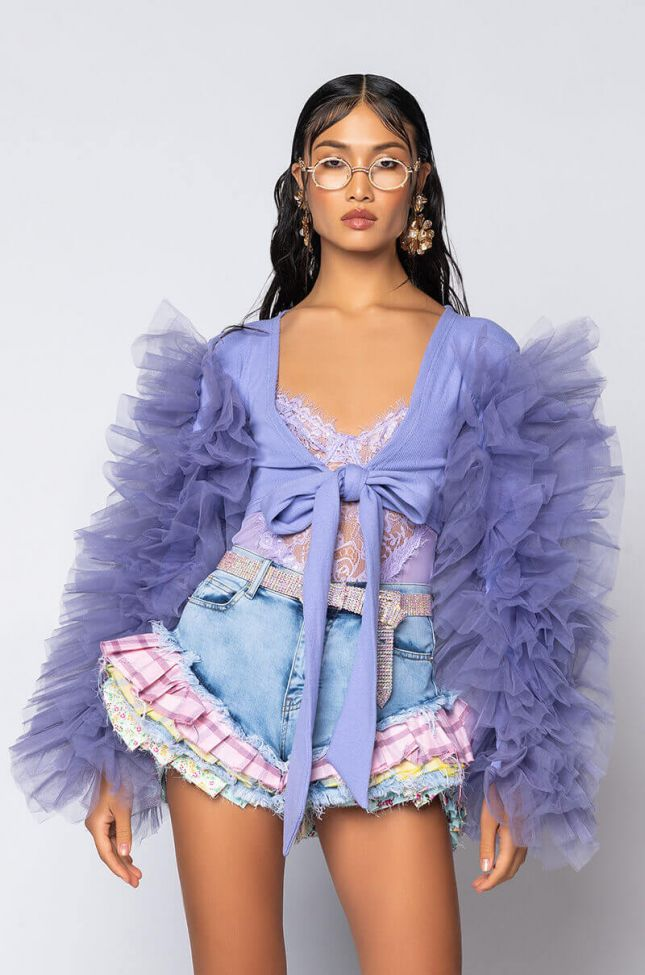 Front View Bring It Out Puff Sleeve Tie Front Top in Light Purple