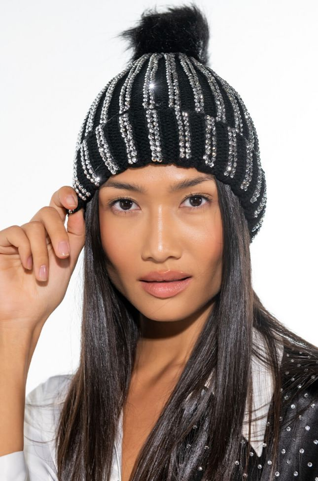 Front View Bring On The Bling Rhinestone Beanie