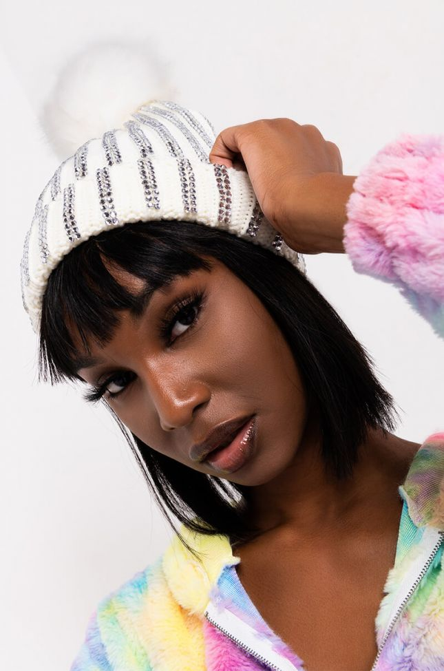 Front View Bring On The Bling Rhinestone Beanie in White