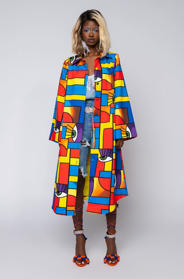 Front View Brisk Risk Printed Trench Coat in Blue Multi