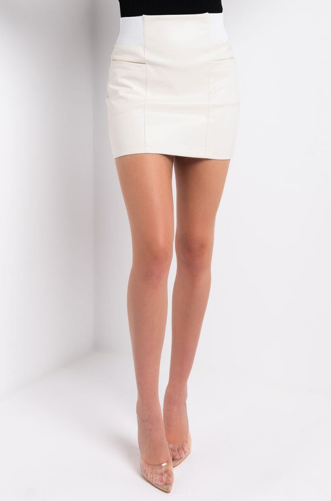 Front View Broken Hearted Girl Faux Leather Mini Skirt in White