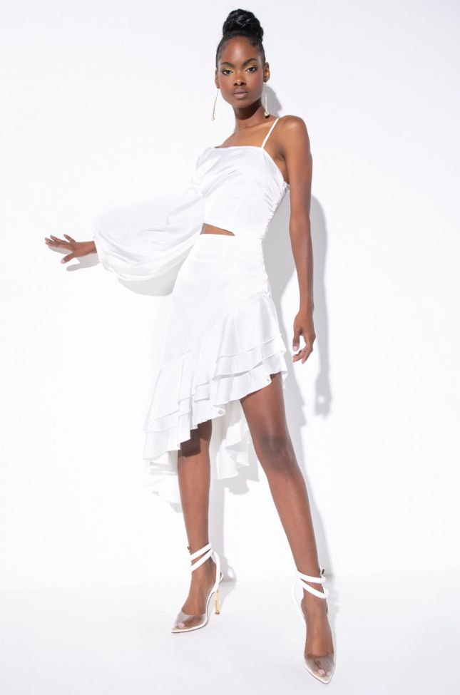 Front View Brunch Slay High Low Dress in White