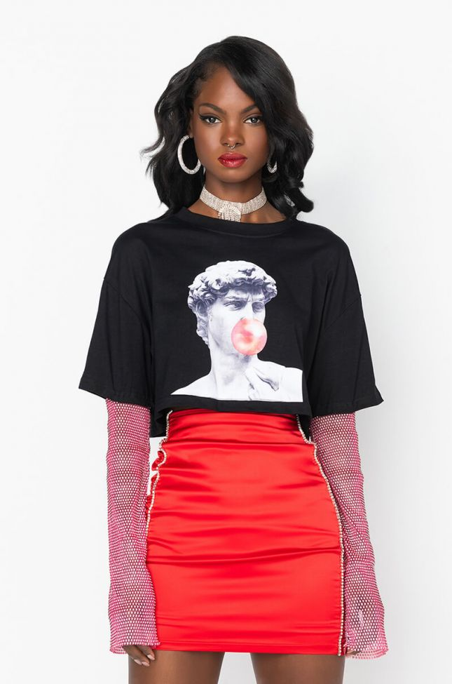 Front View Bubble Gum Rhinestone Sleeve T Shirt in Black Multi
