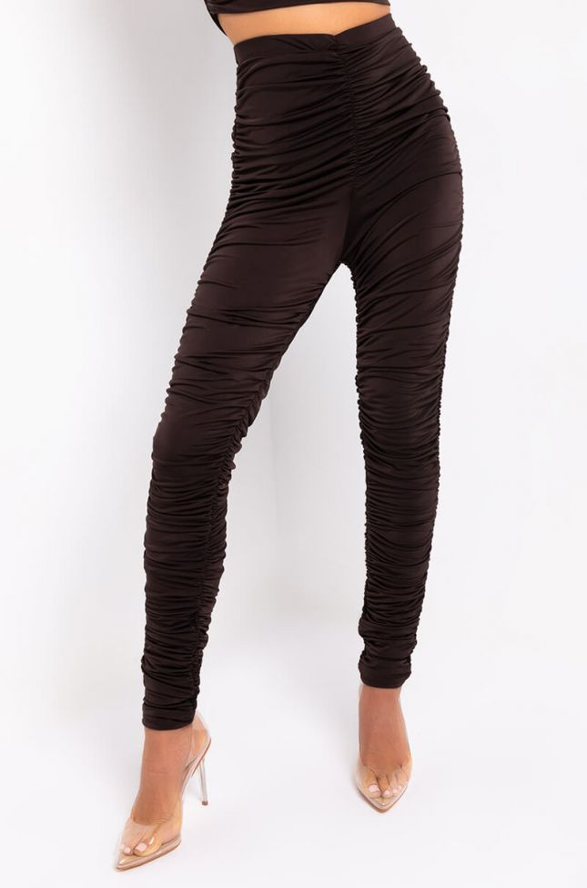 Front View Buckle Up Stacked Legging in Brown