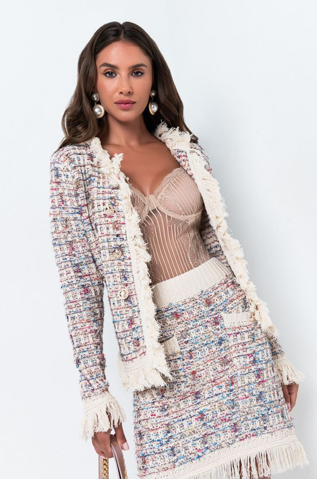Front View Business As Usual Tweed Sweater in Blue Multi