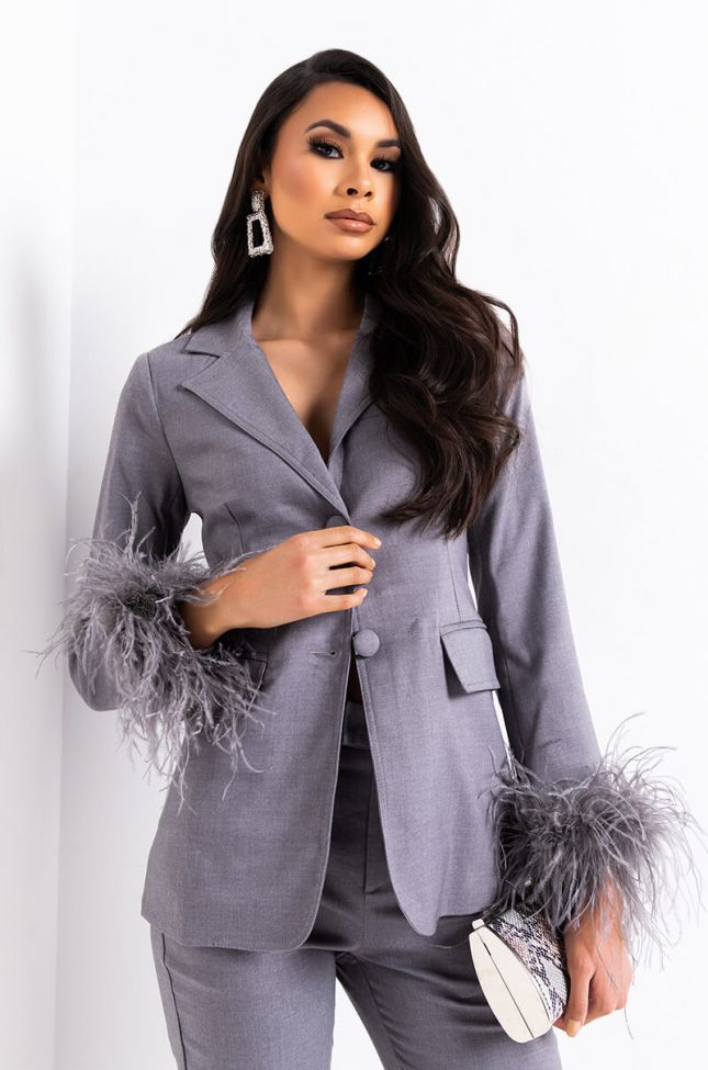 Front View Busy All The Time Blazer in Grey
