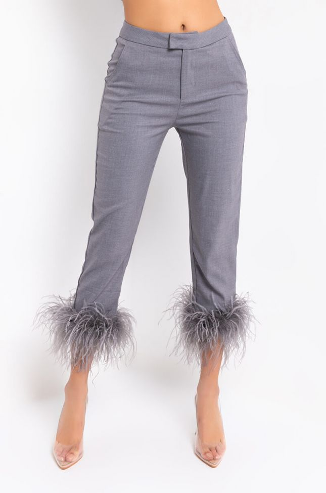 Front View Busy All The Time Fashion Pants in Grey