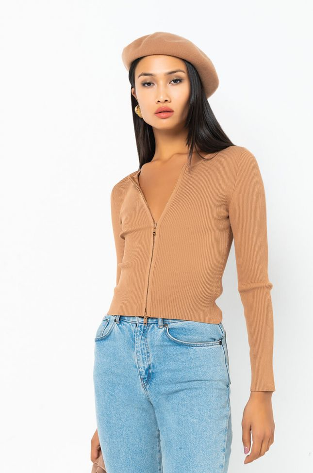 Front View Busy Bee Long Sleeve Front Zip Sweater in Brown