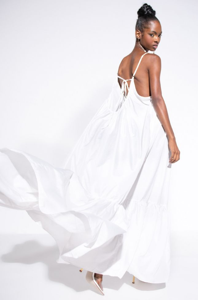 Front View Busy Living Maxi Dress in White