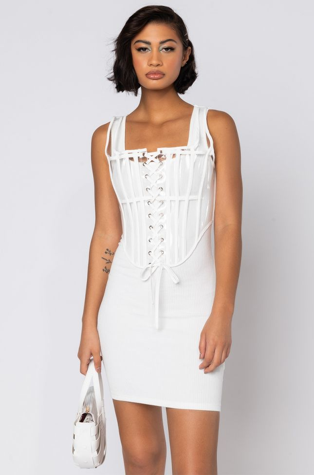 Front View But First, This Fit Mini Dress With Attached Corset in White