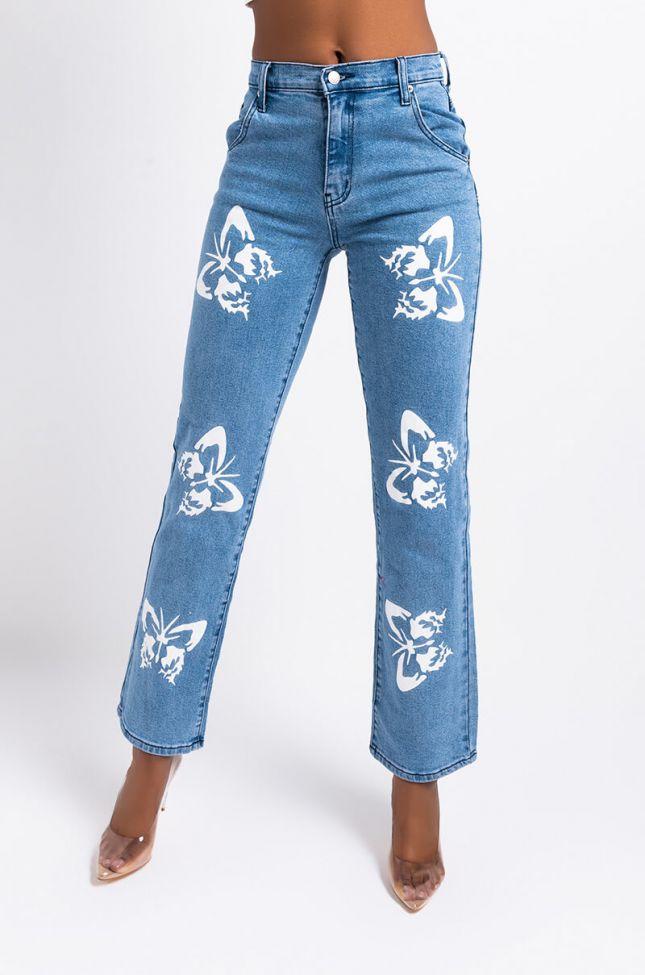 Front View Butterflies High Rise Straight Leg Jeans in Medium Blue Denim