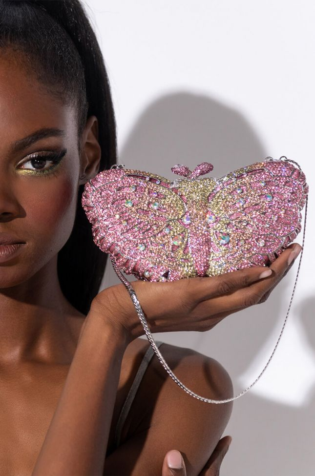 Side View Butterfly Embellished Clutch in Pink Multi