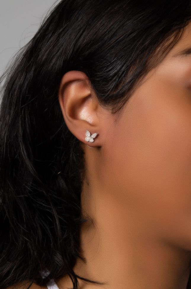 Front View Butterfly Fly Away Earring in Silver