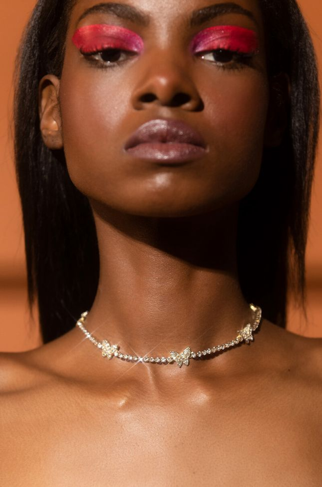 Front View Butterfly Icy Choker in Gold