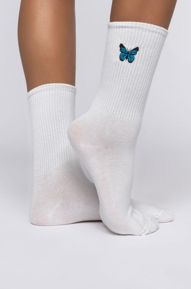 Side View Butterfly Sock in White
