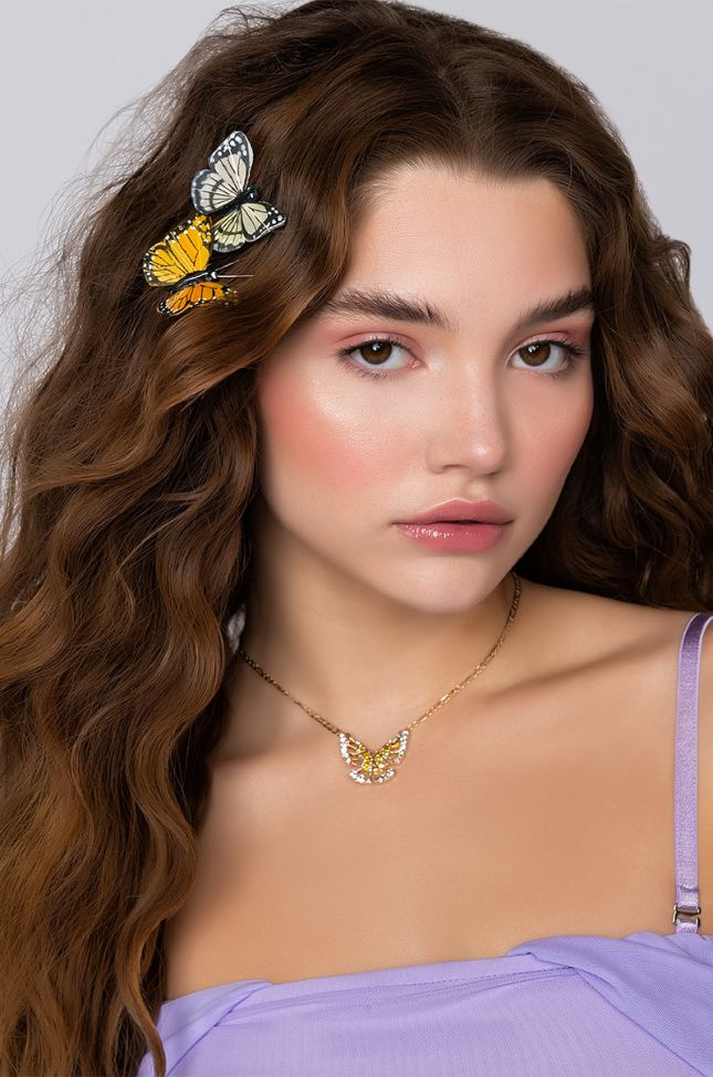 Front View Butterfly Summer Long Bling Necklace in Gold