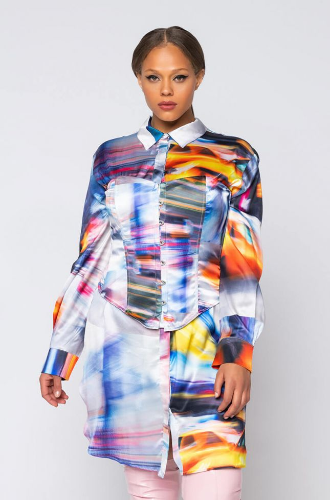 Front View Cab Confessions Plus Shirt Dress in Yellow Multi
