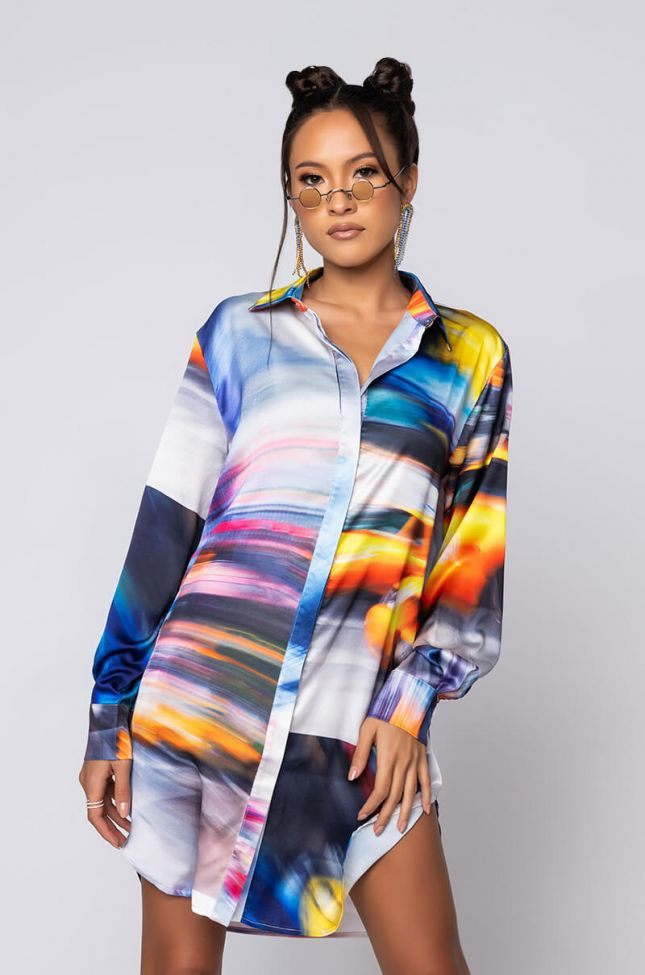 Side View Cab Confessions Shirt Dress in Yellow Multi