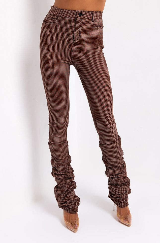 Front View California Stacked Pant in Brown