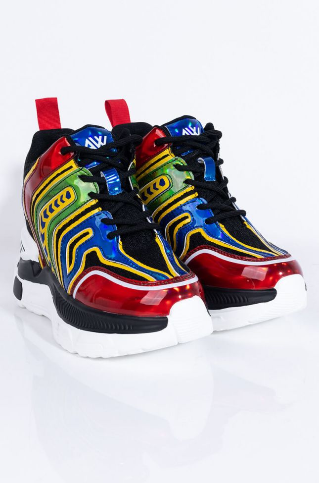 Front View Call Me Back Sneaker in Multi