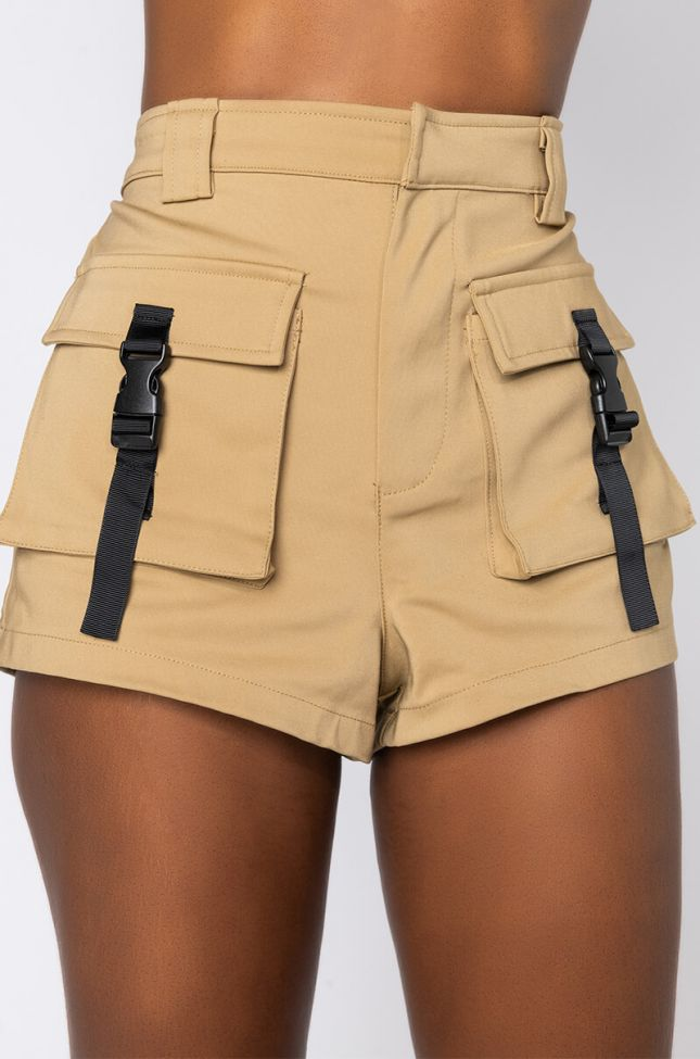 Detail View Call Me High Rise Shorts in Beige