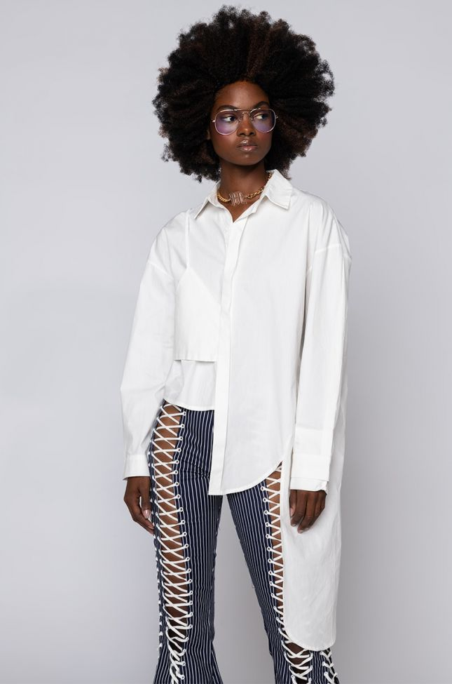 Front View Call Me Irregular Button Front Blouse in White