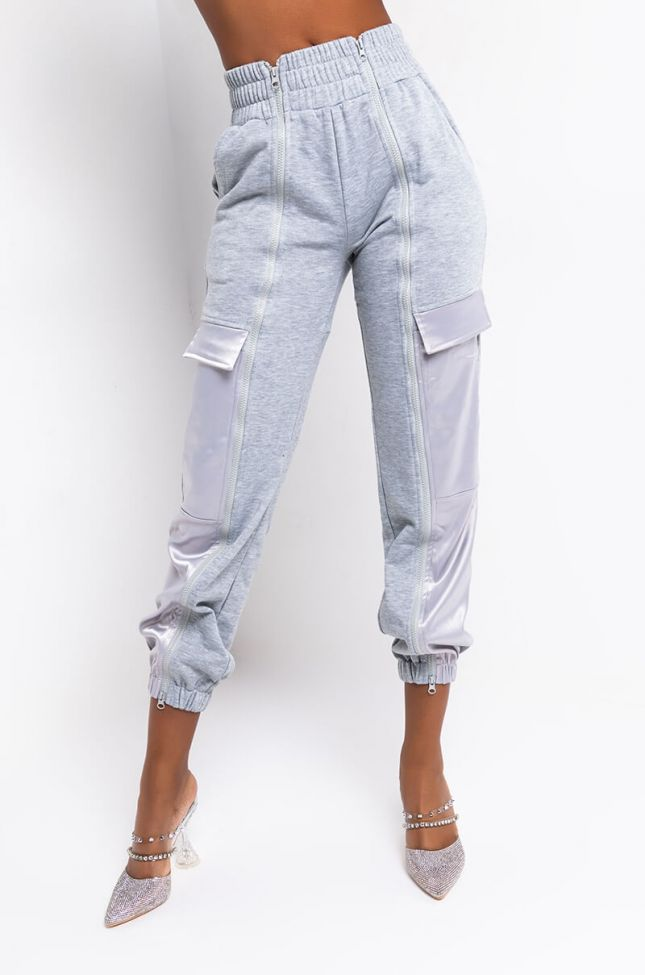 Front View Call Me Later Zipper Jogger in Heather Grey