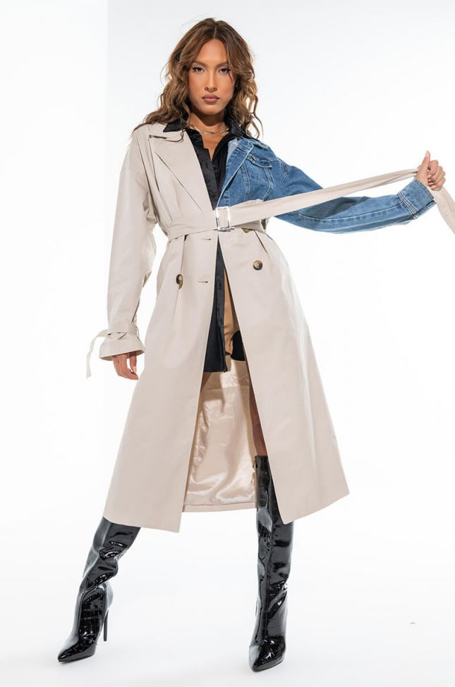 CALL ME MAYBE DENIM MIX TRENCH COAT