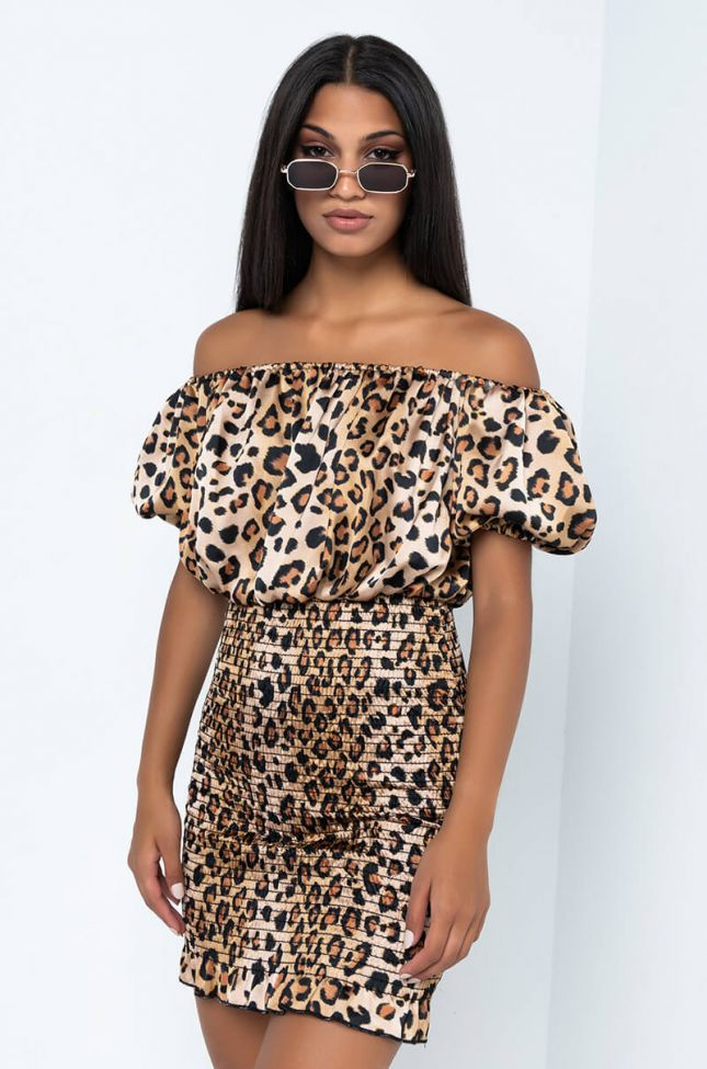 Front View Call Me Off The Shoulder Mini Dress in Brown Leopard