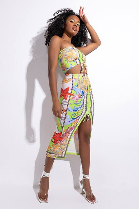 Full View Call Me What You Want Midi Skirt With High Slit