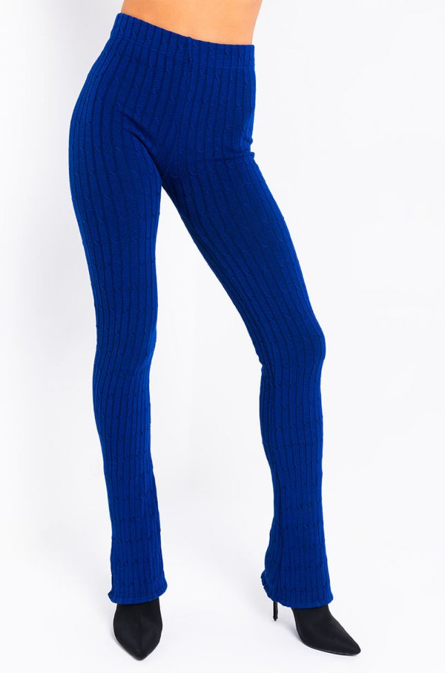 Front View Call Me Your Boo Sweater Knit Legging With A Slit in Royal Blue