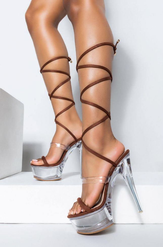 Front View Call My Phone Wrap Up Sandal in Brown
