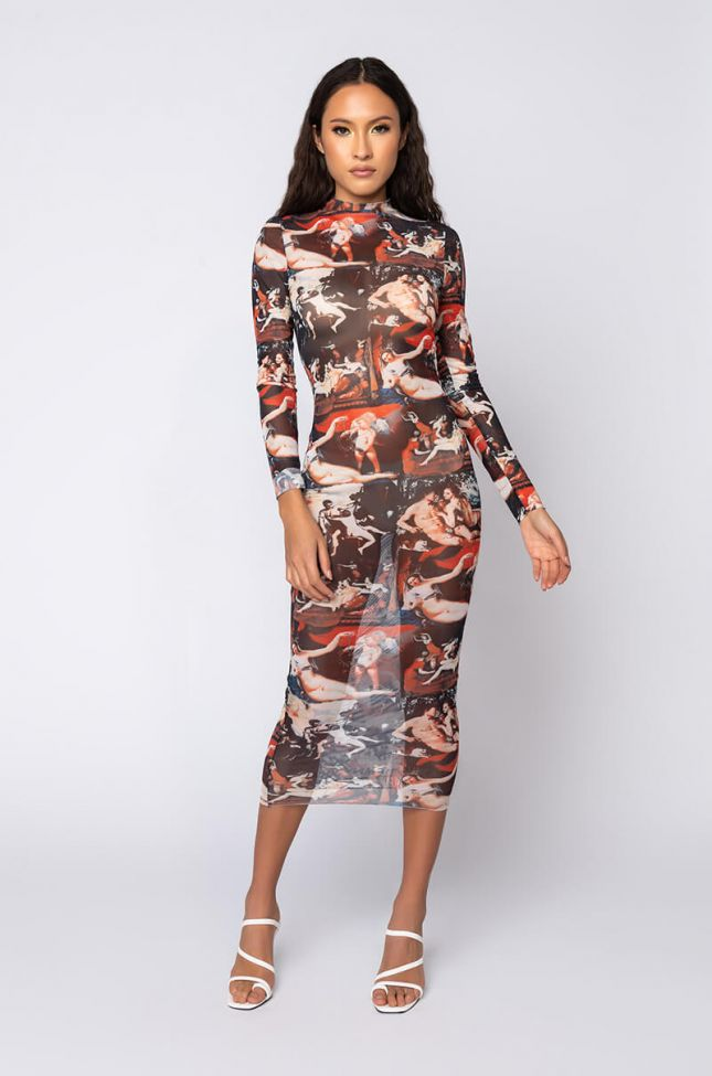 Front View Call The Getty Renaissance Print Mesh Midi Dress in Multi