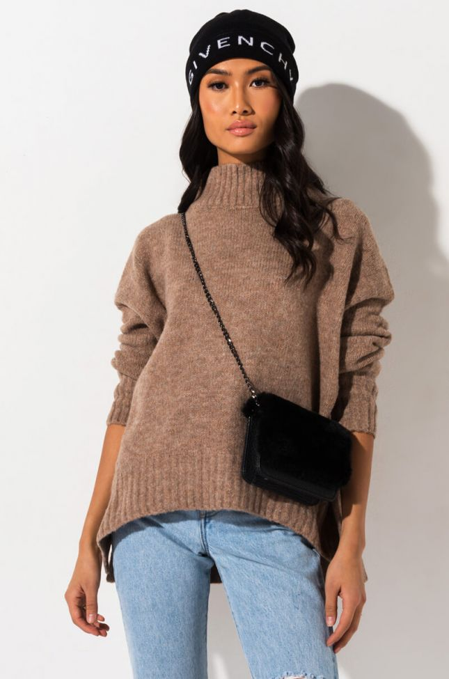 Front View Call U Mine Oversized Sweater in Light Brown