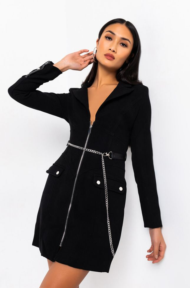 Side View Call You Up Long Sleeve Chain Mini Dress in Black