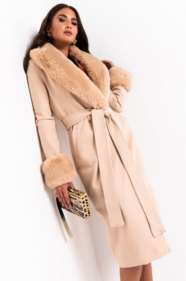 Front View Came To Slay Fur Detail Belted Coat in Light Brown