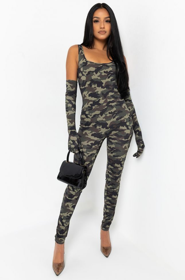 Front View Came To Win Camo Printed Jumpsuit in Green Camo