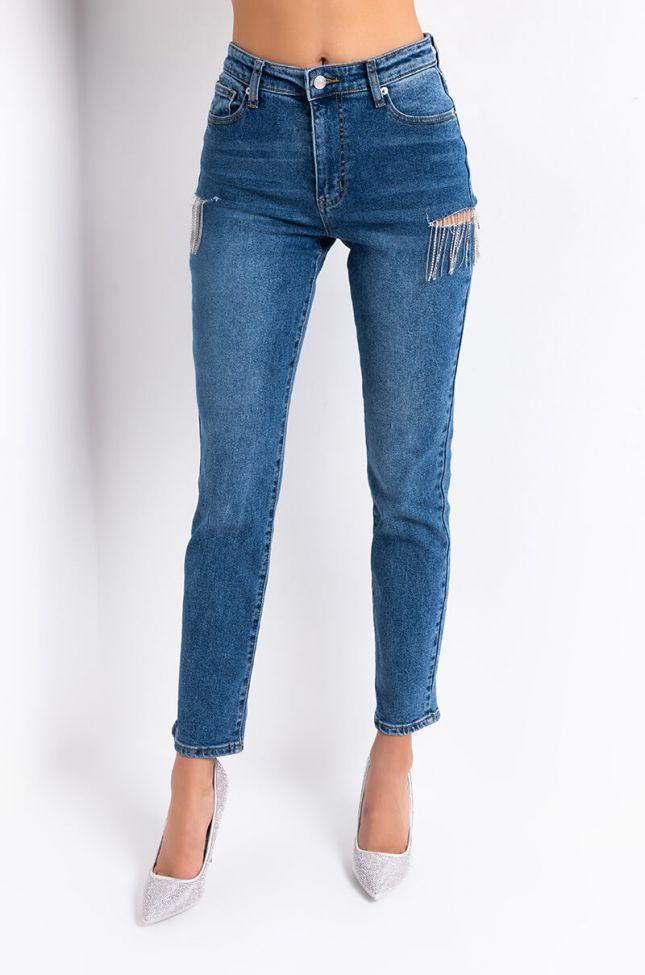 Front View Camila High Waisted Rhinestone Slit Jeans in Medium Blue Denim