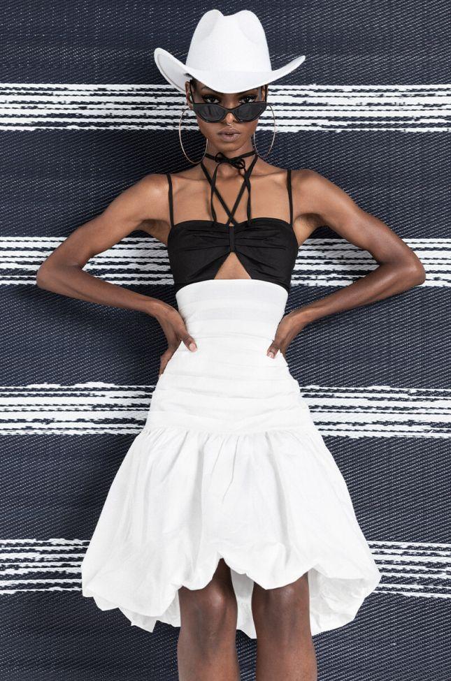 Front View Camilla Fashion Mini Dress in White Multi
