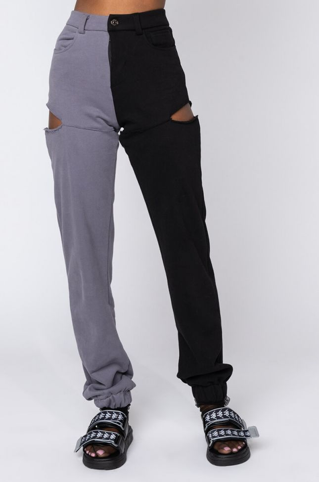 Front View Camillien Half Half Sweatpants in Black Grey
