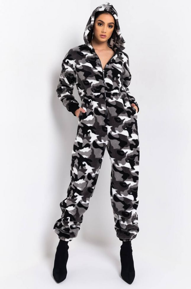 Back View Camo Fur Jumpsuit in Black Multi