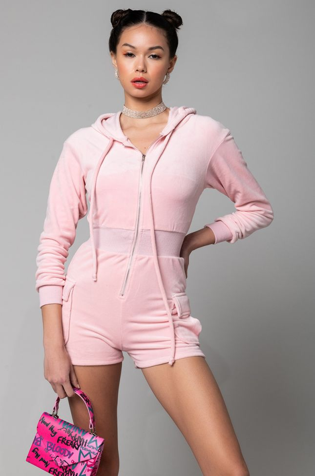 Front View Candy Drop Mini Romper With Hood in Pink