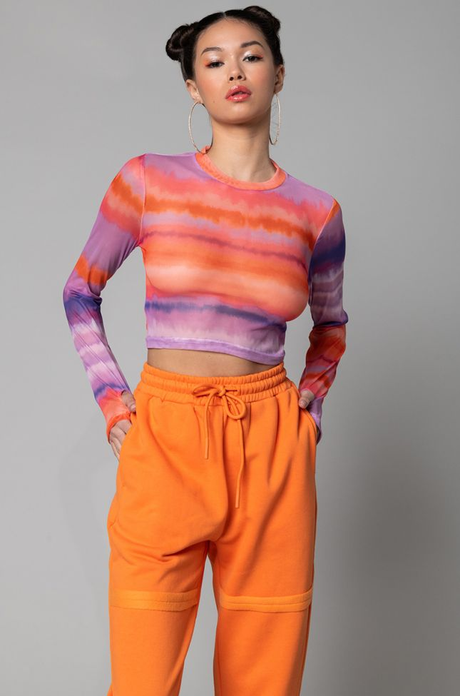 Front View Candy Shop Mesh Long Sleeve Mock Neck Top in Purple Multi
