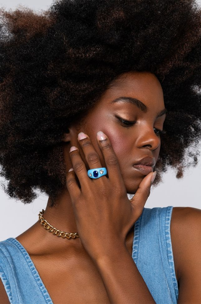 Front View Candyland Statement Ring in Blue