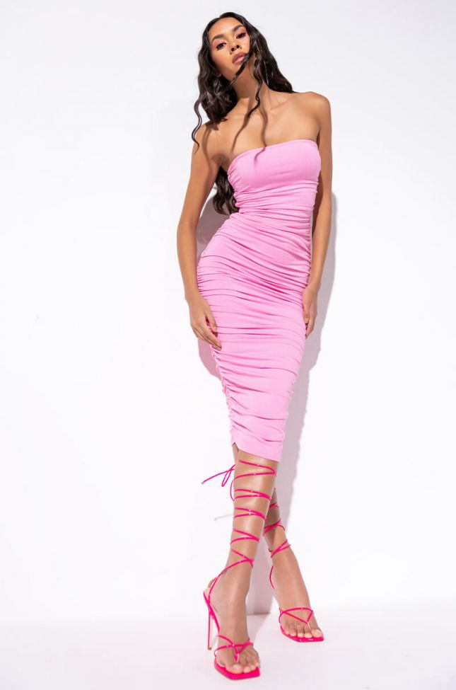 Front View Cant Get Enough Extra Ruched Midi Dress in Pink