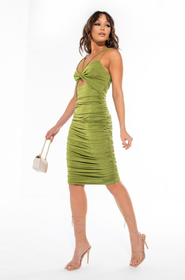CAN'T GET ENOUGH HALTER TOP RUCHED MIDI DRESS