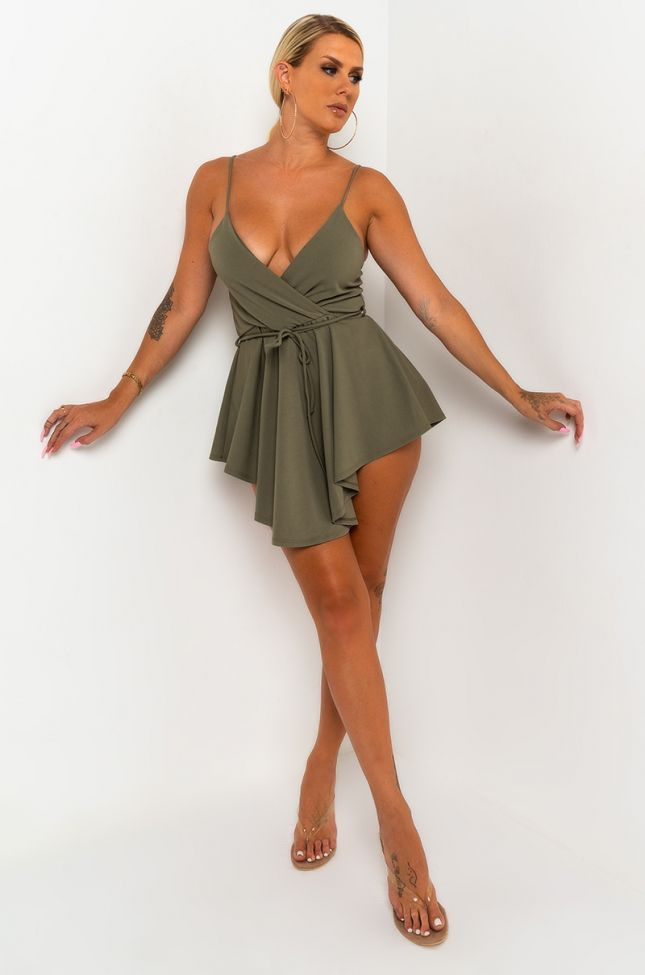 Detail View Cant Stop The Sun Romper in Olive
