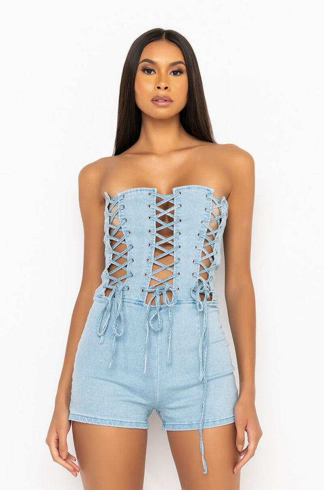 Front View Cant Tie Me Down Stretch Denim Romper in Light Blue